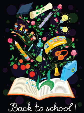 Dark back to school poster with book Vector