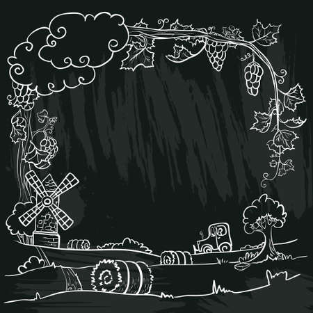 chalkboard poster with autumn  farm Vector