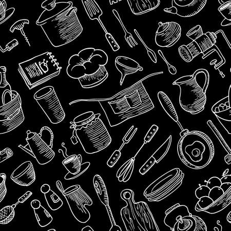 pepperbox: Seamless pattern with kitchen doodles stuff Illustration