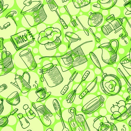 Seamless pattern with kitchen doodles stuff Vector
