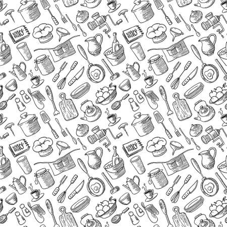 Seamless pattern with kitchen doodles set Vector