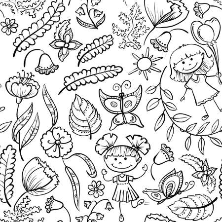 Floral seamless pattern with kids Vector