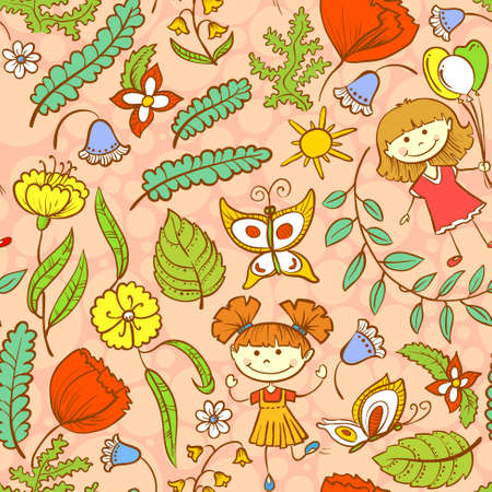 Pink summer seamless pattern with kids Vector