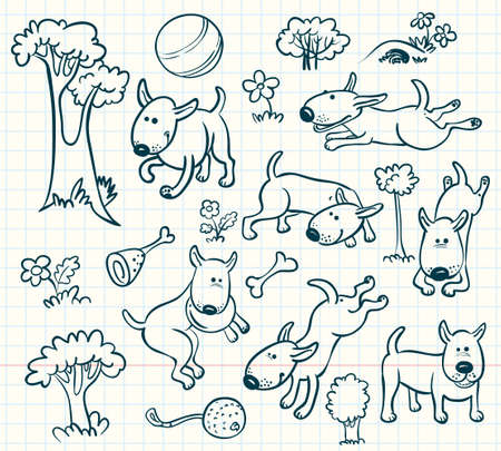 Doodle dogs set Vector