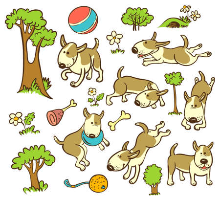 Floral and trees seamless pattern with dogs Vector