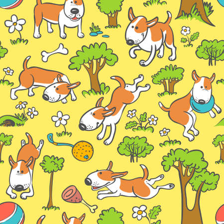 Floral and trees seamless pattern with dogs