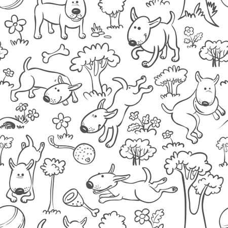 Cute seamless pattern with dogs Vector