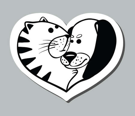 Cat and dog in heart shape Vector
