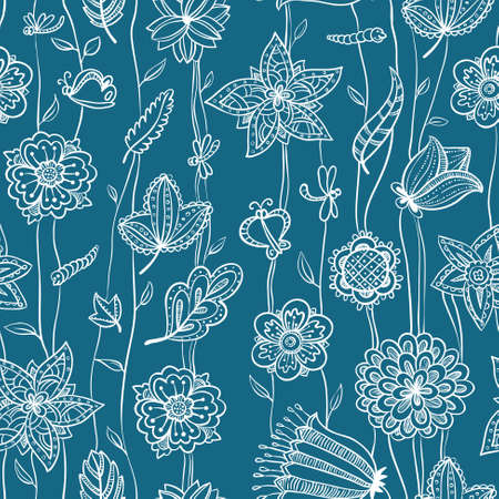 Cute floral seamless pattern in blue and white colors Vector