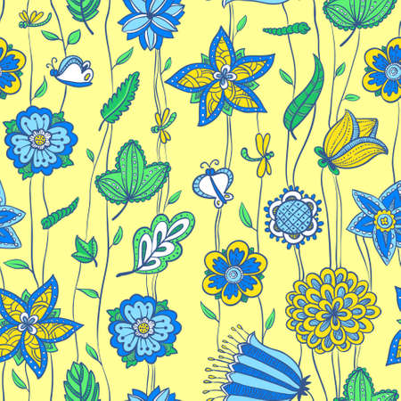 Cute floral seamless pattern in yellow and blue Vector