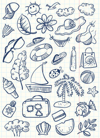 Doodle cute summer beach stuff set Vector