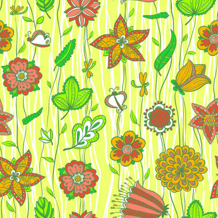 Cute floral seamless pattern in green and pink Vector