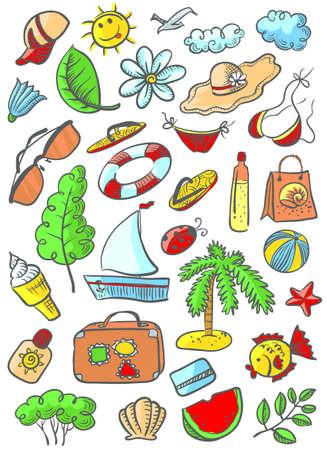Doodle cute summer beach objects set Vector