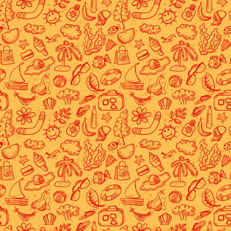 Cute doodle summer stuff seamless pattern Vector