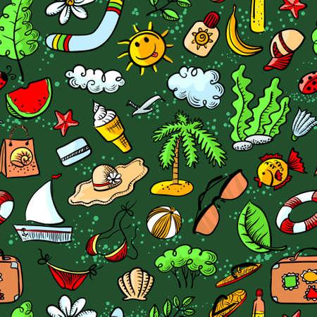 Cute doodle summer seamless pattern Vector