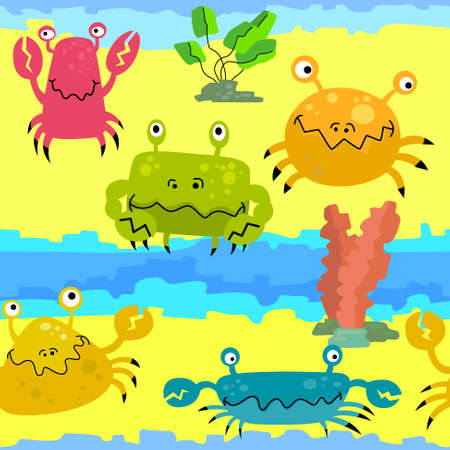 Seamless pattern with cute crabs Vector