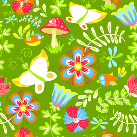 Floral seamless pattern with birds and butterfly Vector