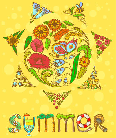 Summer card with floral sun shape and lettering Vector