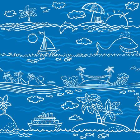Line art sea summer seamless pattern Vector