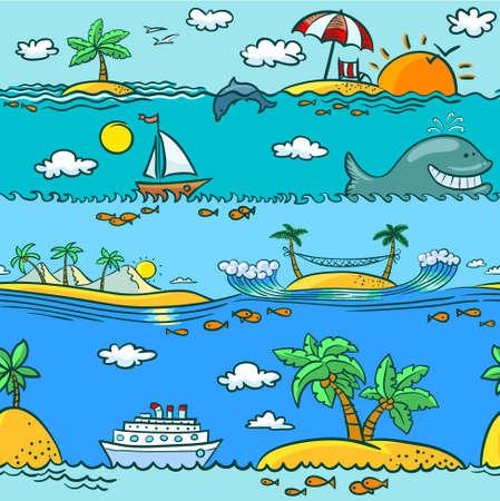 Sea summer seamless pattern Vector