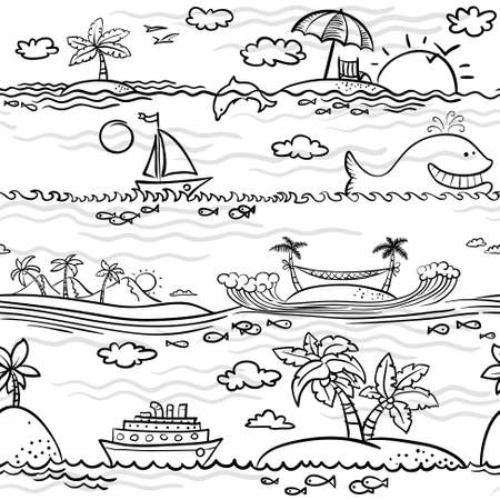 Doodle black and white beach seamless pattern Illustration