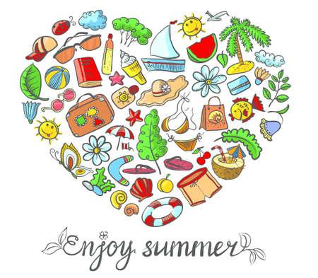 Summer card with heart shape Vector