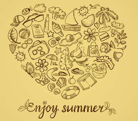 Summer doodle grange card with heart shape Vector