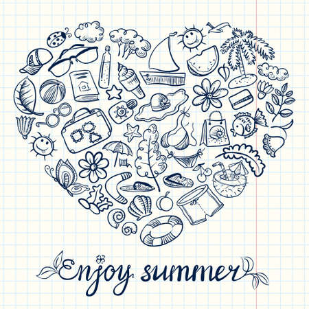 Summer doodle card with heart shape Vector