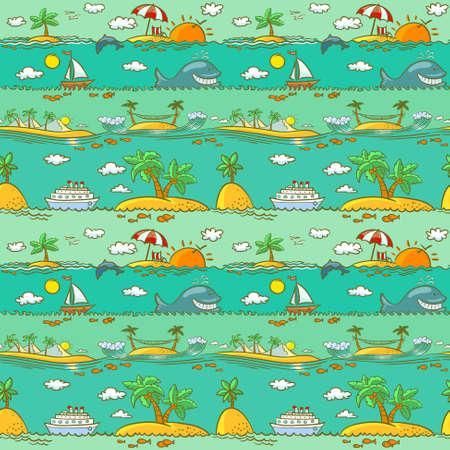 Sea landscape summer seamless pattern Vector