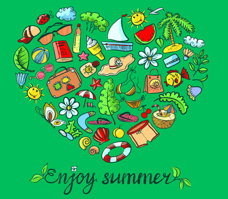 Summer heart shape with lettering Vector