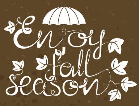 Enjoy fall season grange lettering composition