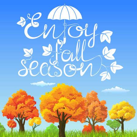 Enjoy fall season lettering landscape card