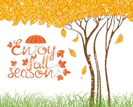 arbre automne: carte d'automne avec l'arbre d'automne Illustration
