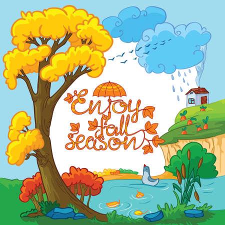 autumn scene: Autumn card with lettering