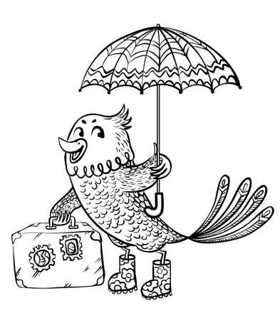 migrant: Sketchy autumn migrant bird Illustration