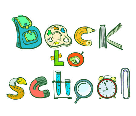 elementary age: Back to school doodle lettering