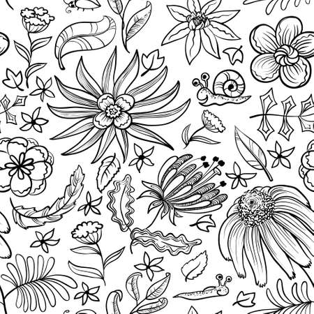 Cute floral black and white doodle seamless pattern  Vector