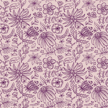Floral doodle seamless pattern  Vector