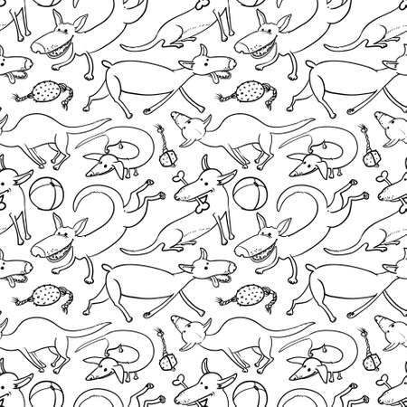 black and white doodle seamless pattern with dogs Vector