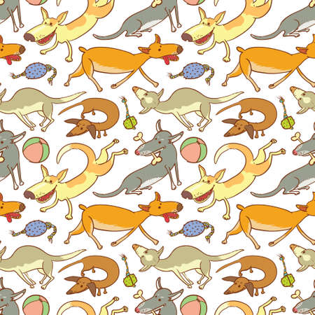 Doodle seamless pattern with dogs Vector