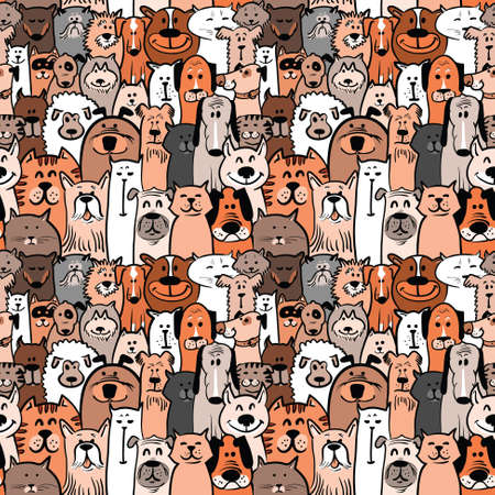 smiling cat: doodle dogs and cats seamless pattern