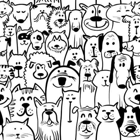 黒と白の落書きの犬と猫のシームレスです  イラスト・ベクター素材