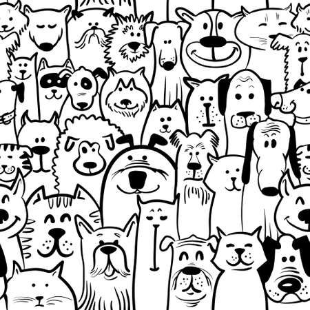 Black and white doodle dogs and cats seamless Ilustração