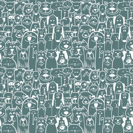 Sketchy dogs and cats seamless pattern