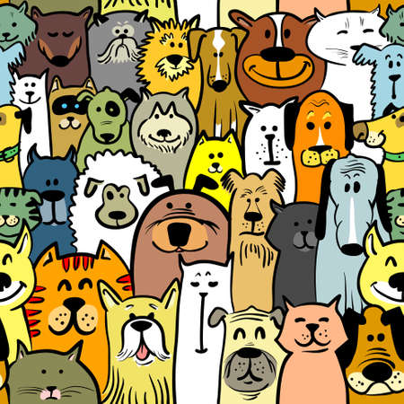 Cartoon doodle dogs and cats seamless