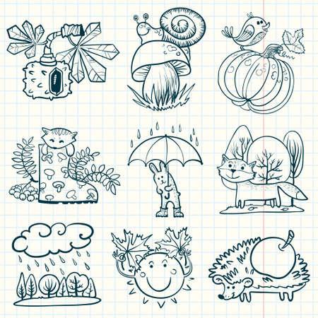 aves caricatura: Temporada de otoño Doodle conjunto con animales