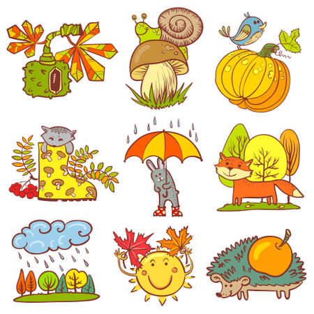 Color autumn season set with animals Vector