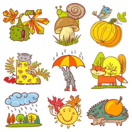 Color autumn season set with animals Vector