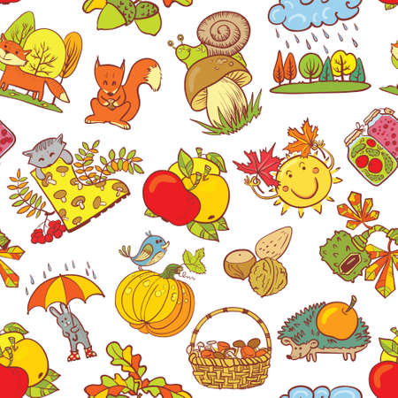 apple snail: Fall season seamless pattern