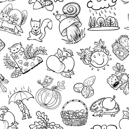 apple snail: Autumn doodle seamless pattern